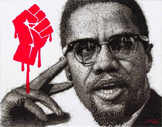 Portrait piece done by Nicholas Schleif, using gun powder resin. Portrait appears to be in black and white/gray of Malcolm X, except for a red dripping fist in the upper left corner.