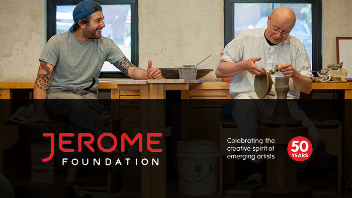 Jersome Foundation, Celebrating the creative spirit of the emerging artst for 50 years. Pictured are two potters in a studio, working and conversing.