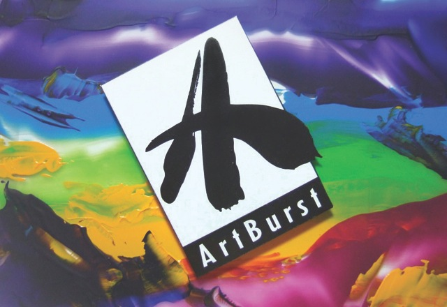 "ArtBurst Logo-a mix of bright paint colors in the back (shiny) with a lopsided retangle in the middle that is black and white-large black scribbled ""A"" and ""ArtBurst"" written under the big A."