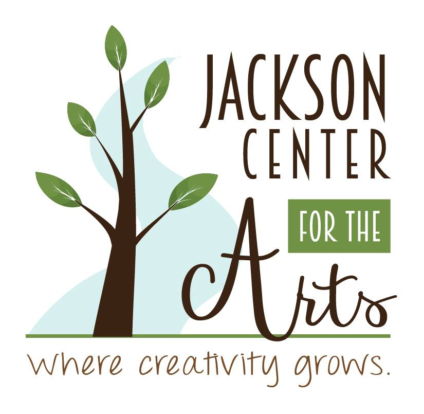 Jackson Center for the Arts: Where creativity Grows. (Simple drawing of a small budding tree)