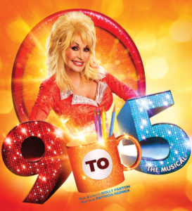 "9 to 5 logo, has Dolly Parton with sparkling 9 to 5 and the ""to"" is written on a coffee cup."
