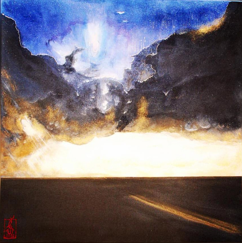 Landscape painting of a sun coming through dark clouds above a deserted highway.