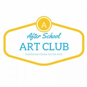 After School Art Club, Hutchinson Center for the Arts. (Everything is written in light blue and dark yellow.)