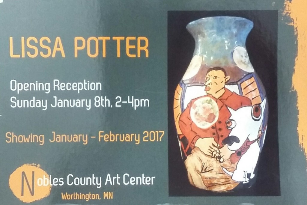 Post card for Liss Potter exhibit. Has text provided in body of this post, with a picture of a vase that is hand painted, very bright colors. A man with flowers and a white dog.