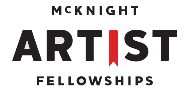 """mcknight logo, all words, reads: """"McKNIGHT ARTIST FELLOWSHIPS"""" the """"i"""" in """"artist"""" looks like an award or bookmark and is red. All other letters are black capitols."""