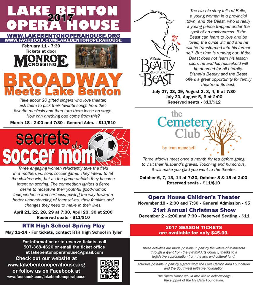 lake benton opera house season 2017 flyer, all text is written in body.