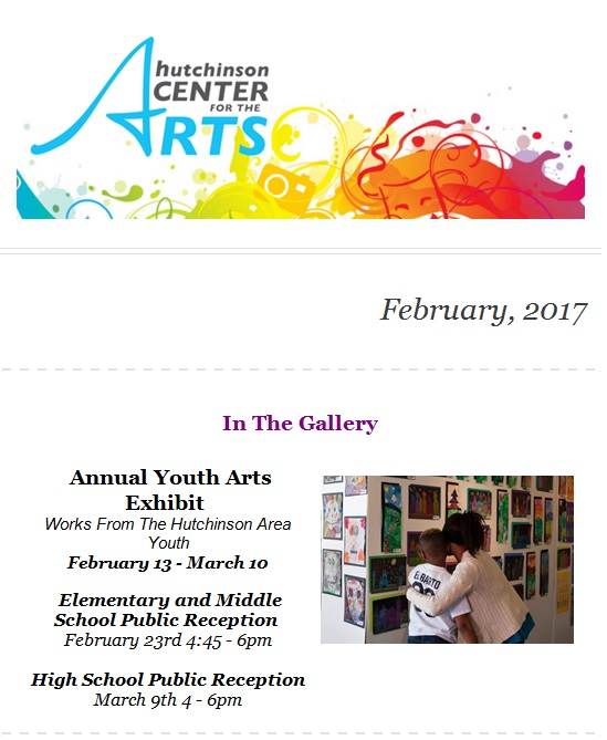 HCA logo (colorful ink splashes), and picture of child and adult looking at art on the gallery walls.