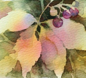 close up of water color painting of leaves and grapes