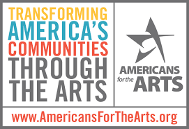 "Americans for the Arts Logo. Sways ""Transforming American's Communities through the Arts."