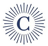 "Carleton College logo, ""C"" with lines radiating our like a sun, everything is navy."
