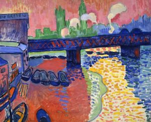 example of fauvism painting, city scene with bridge over water. Bright blocky colors.