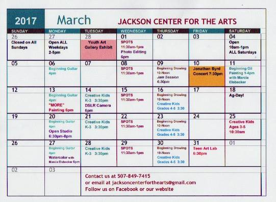 Visual calendar of March Events. All information is in main body of text.