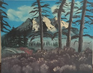 Example of landscape beginning oil painting.