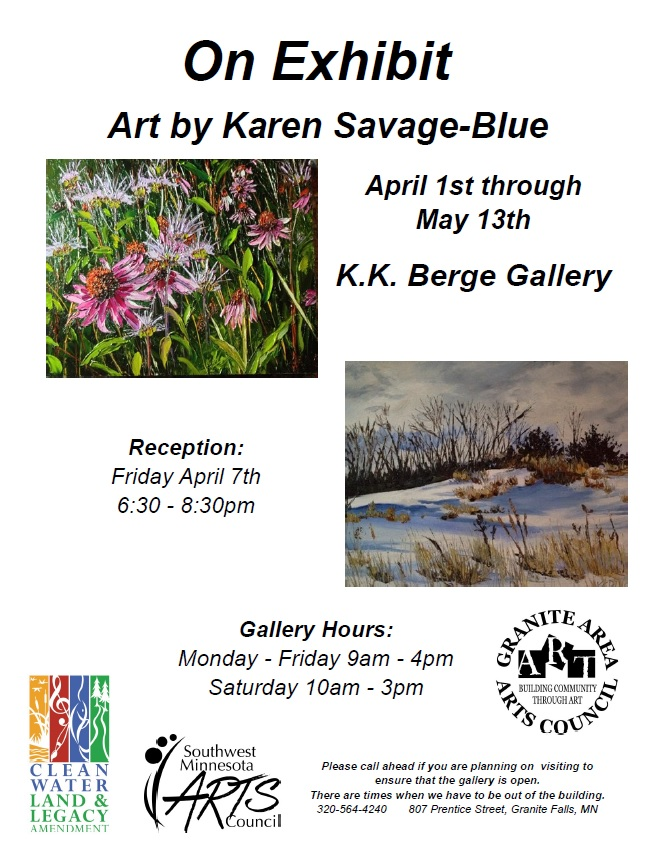 Poster for event. Has 2 pictures of paints, one of pink flowers and grass and one of melting snow with brown grass starting to show through.