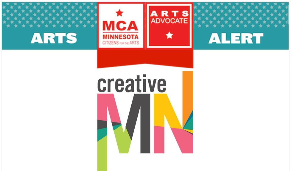 Arts Alert from Minnesota Citizens for the Arts logos. Creative MN logo.
