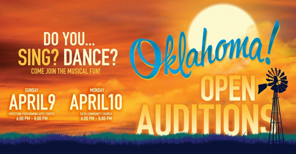 All text included in body. Poster for auditions, Have a sunset scene with windmill.