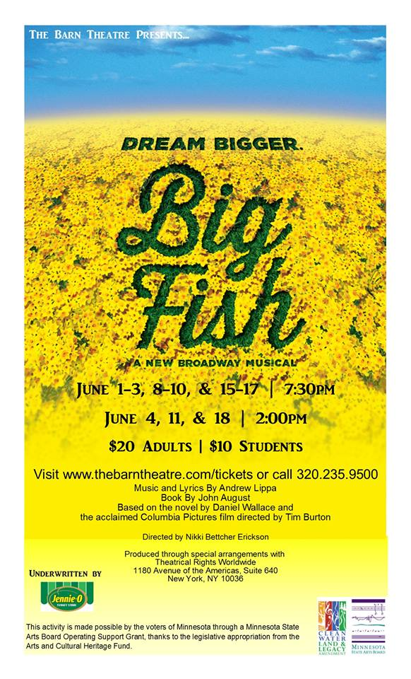 Big fish poster, huge field of yellow flowers and bright blue sky.