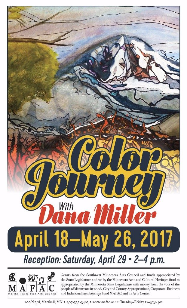 poster for event, sytlized landscape with bright colors and bold black lines.