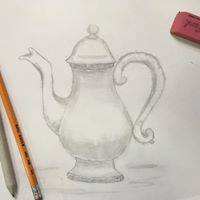picture of a drawn tea kettle, done in pencil, show pencil and eraser in the picture.