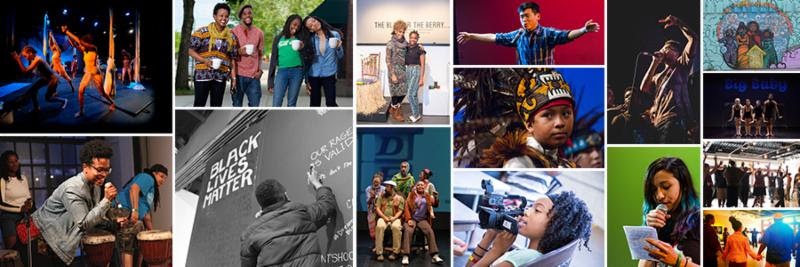 Banner from Intermedia Arts website-a lot of small pictures of their different people and projects.