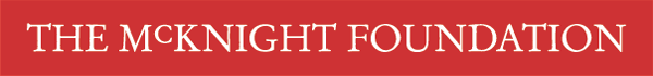 The McKnight Foundation written logo-white letters, red background.