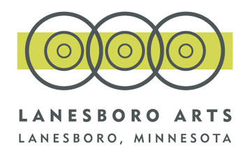 Lanesboro art logo, lime green line with black circles
