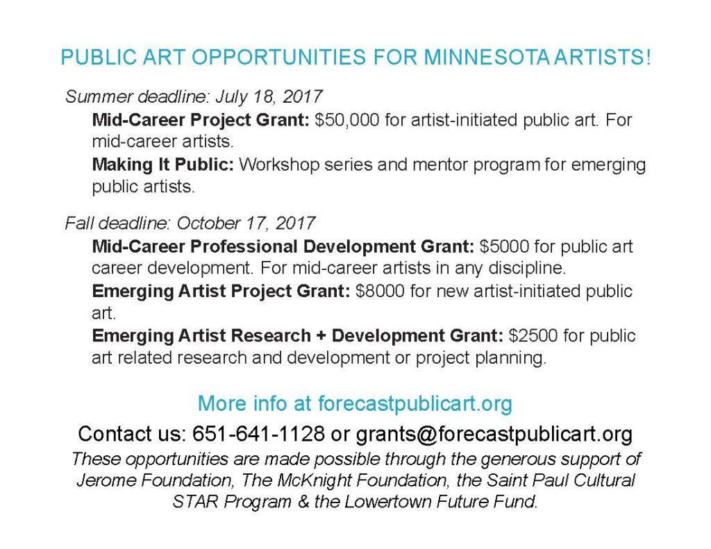 forecast 2018 public art grants southwest minnesota arts council