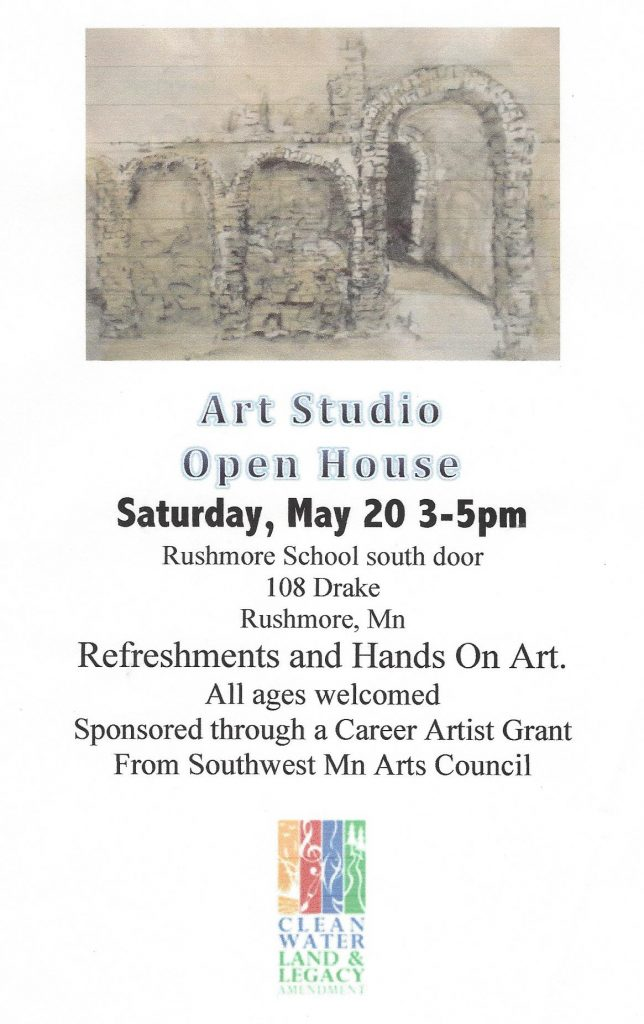 Poster/flyer for event. Drawing of a crumbling stone structure.