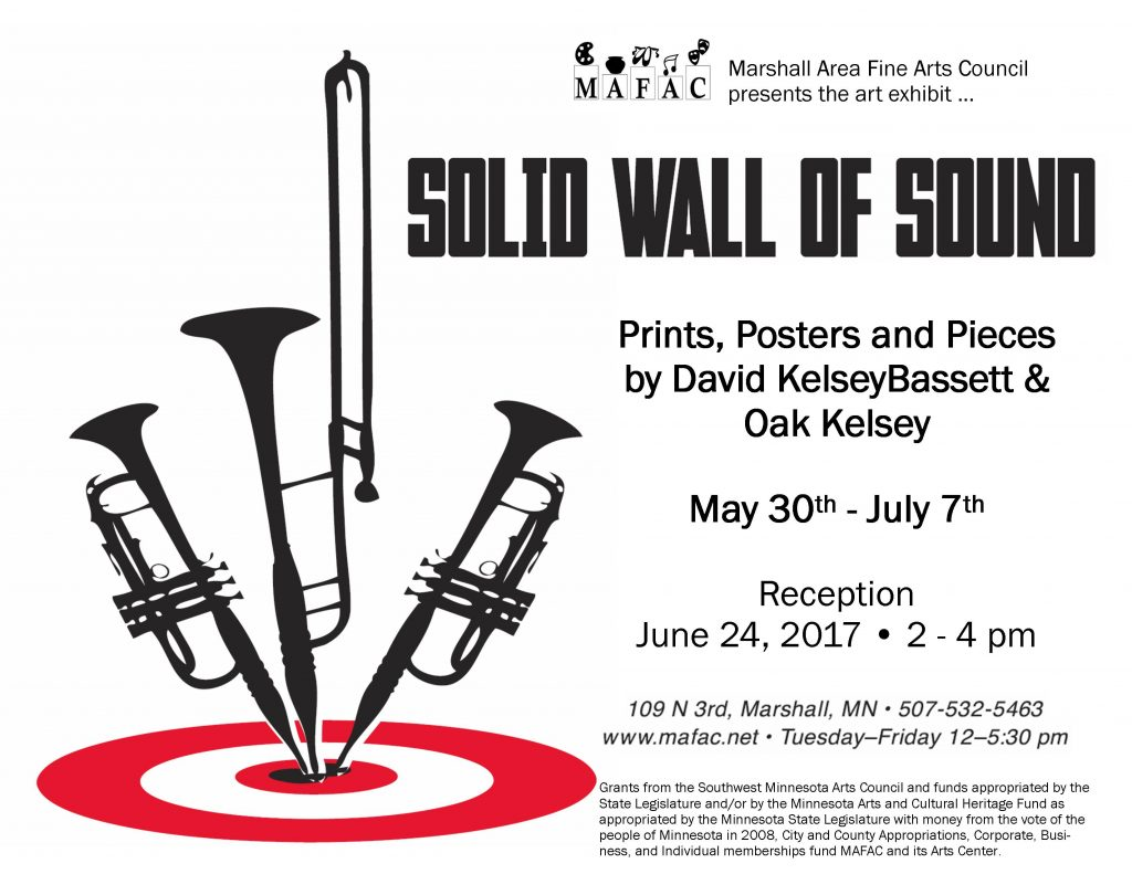 Poster for event. Sillouettes of horned instruments in black, with red bulls eye under them.