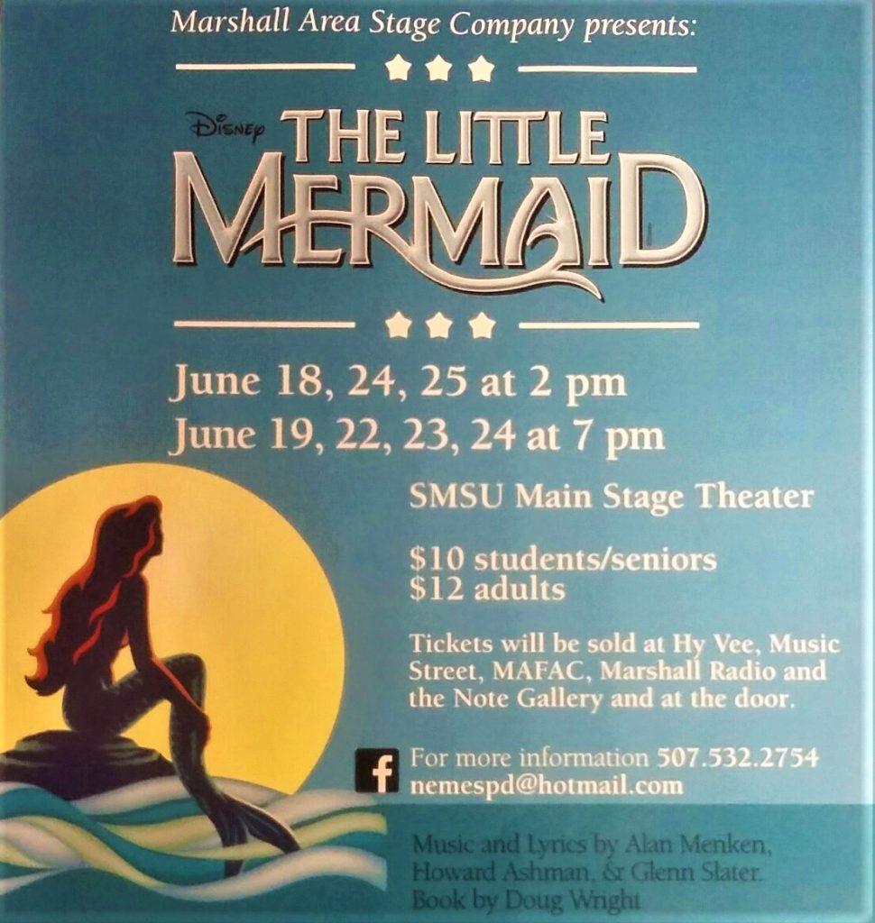 poster for event, has The Little Mermaid logo of Ariel the mermaid sitting on a rock in the sea, with moon in back of her.