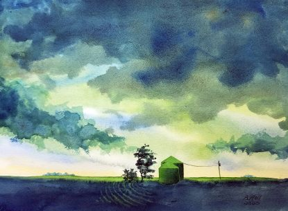Watercolor painting in shades of blue and green of a rural landscape with silos, trees, and a stormy sky.