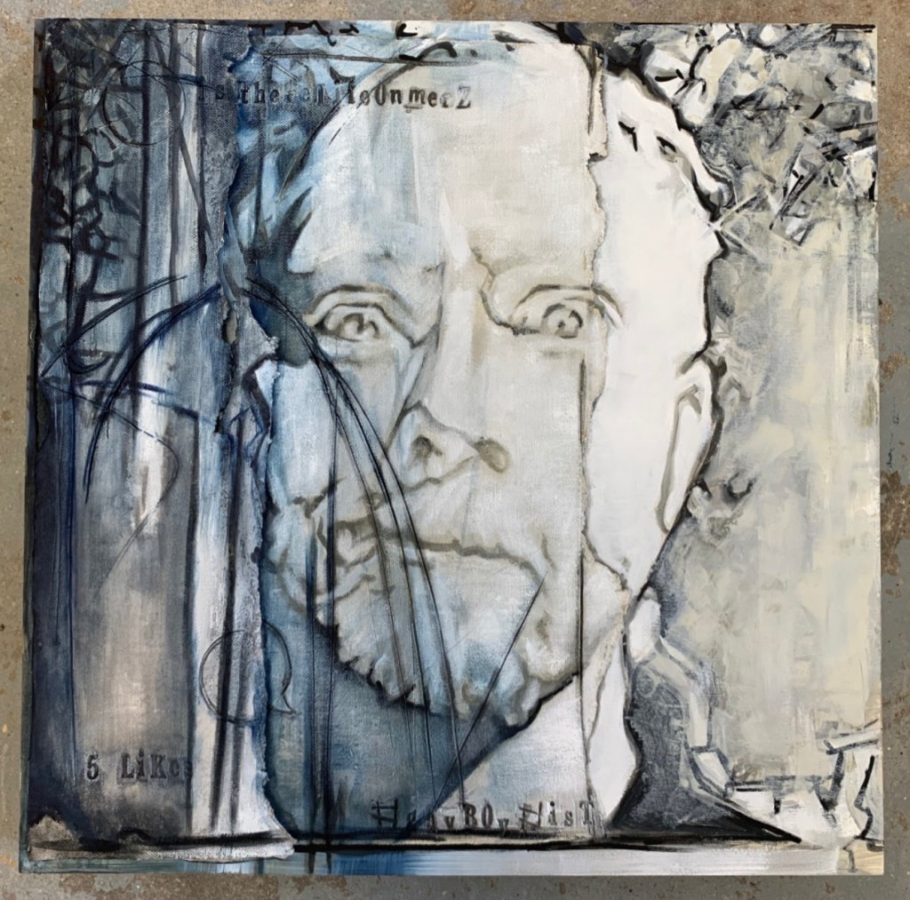 Artwork by Eva Margaret of Willmar, MN. Oil on paperclay, wood panel, paint markers. Of a man's face and abstract shapes behind him.