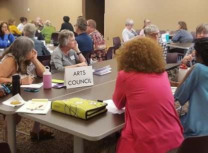 """Photo of people grouped at tables, discussing with each other. The table we can see the best has a printed text sign on the table that says """"Arts Councils"""". There are approximately 30 people at the workshop, grouped at different tables."""