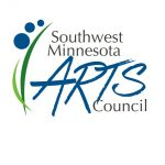 """SMAC Logo, two abstract blades of grass, three blue circles each getting small than the one under it to to upper left corner. Then the words """"Southwest Minnesota"""" (written in Black) Arts (written in blue) Council (written in black)."""