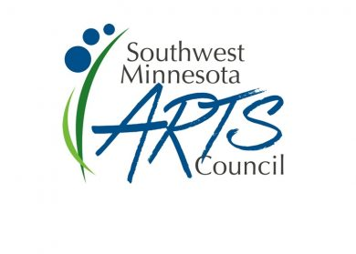 "SMAC Logo, two abstract blades of grass, three blue circles each getting small than the one under it to to upper left corner. Then the words ""Southwest Minnesota"" (written in Black) Arts (written in blue) Council (written in black)."