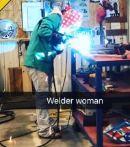 Person welding with text that says Welder Woman