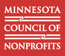 Minnesota Council of Nonprofits logo. White text with red background.
