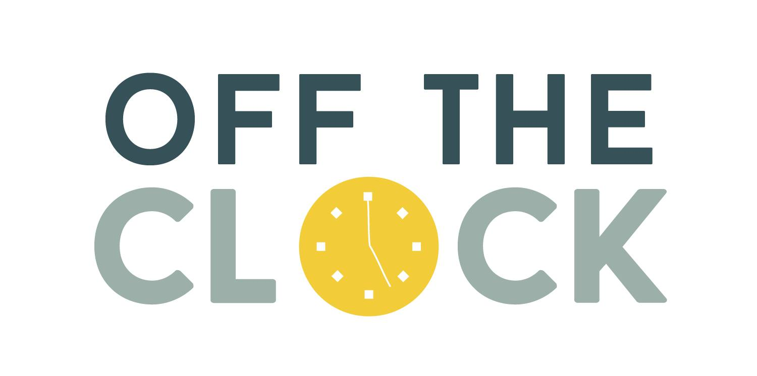 Logo, OFF THE CLOCK, the O is a yellow clock face.