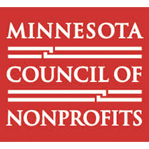 Minnesota Council of Nonprofits logo. Red background, white lettering.