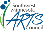 Southwest Minnesota Arts Council Logo. Two blades of green grass to the left, three blue circles upper left, the words