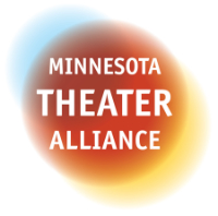 Minnesota Theater Alliance logo. White text with red, yellow and blue overlapping circles of different sizes behind text.