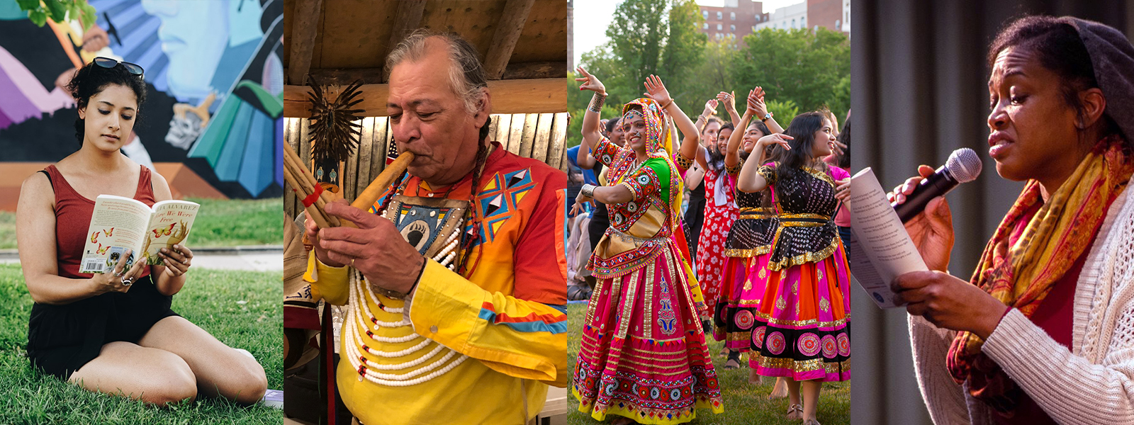 Photo Credits (L to R): 1) A NEA Big Read participant reads In the Time of the Butterflies by Julia Alvarez, photo by Lighthouse Writers Workshop; 2) Musician Keith Bear at the Earth Lodge Village on the Fort Berthold Reservation, photo by Shigeyo Henriquez; Participants at the New Haven International Festival of Arts, photo by Shannon Mykins; 4) A woman reads from a book on stage as part of an NEA Big Read program through Vigo County Public Library, photo by Kim McMurray.