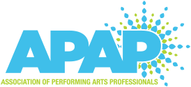 "Logo for Association of Performing Arts Professionals. APAP is written in sky blue, underneath in small lime green colors it says ""Association of Performing Arts Professionals. On the left, partially behind the large letter P is a starburst of blue and green."