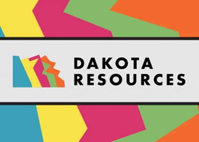 "Logo for Dakota Resources. Jagged color lines of blue, yellow, pink, green and orange. Has the words ""Dakota Resources"" in a white box with black banner around it in the middle."