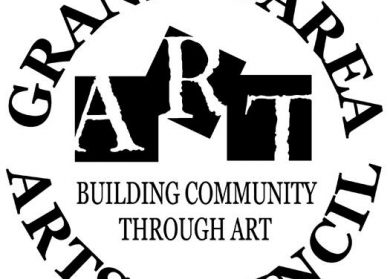 "Logo for Granite Area Arts Council. White and black letters and also says ""Building Community Through Art"""