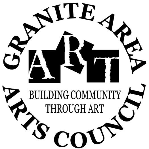 Logo for Granite Area Arts Council. White and black letters and also says