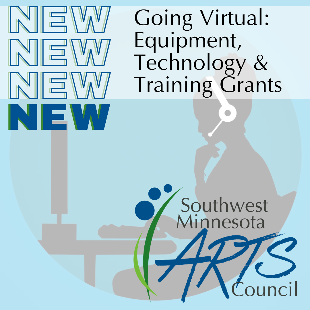 NEW NEW NEW NEW Going Virtual: Equipment, Technology & Training Grants. Has SMAC logo as well as a background stock graphic of a silhouette of a person working on a computer with a headset. Light blue background.