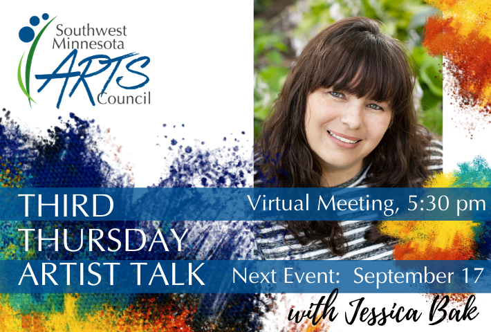 Third Thursday Artist Talk. Virtual Meeting. Next event: September 17 with artist Jessica Bak. The image contains SMAC's logo, a white background with bright paint splashes of blue, green, yellow, and red, and ahead shot photo of Jessica Bak smiling.
