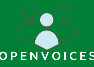 OPEN VOICES logo, green background, simple image of 3 circles and lines for shoulders to represent people, the one in the middle is light blue, the other are dark green.