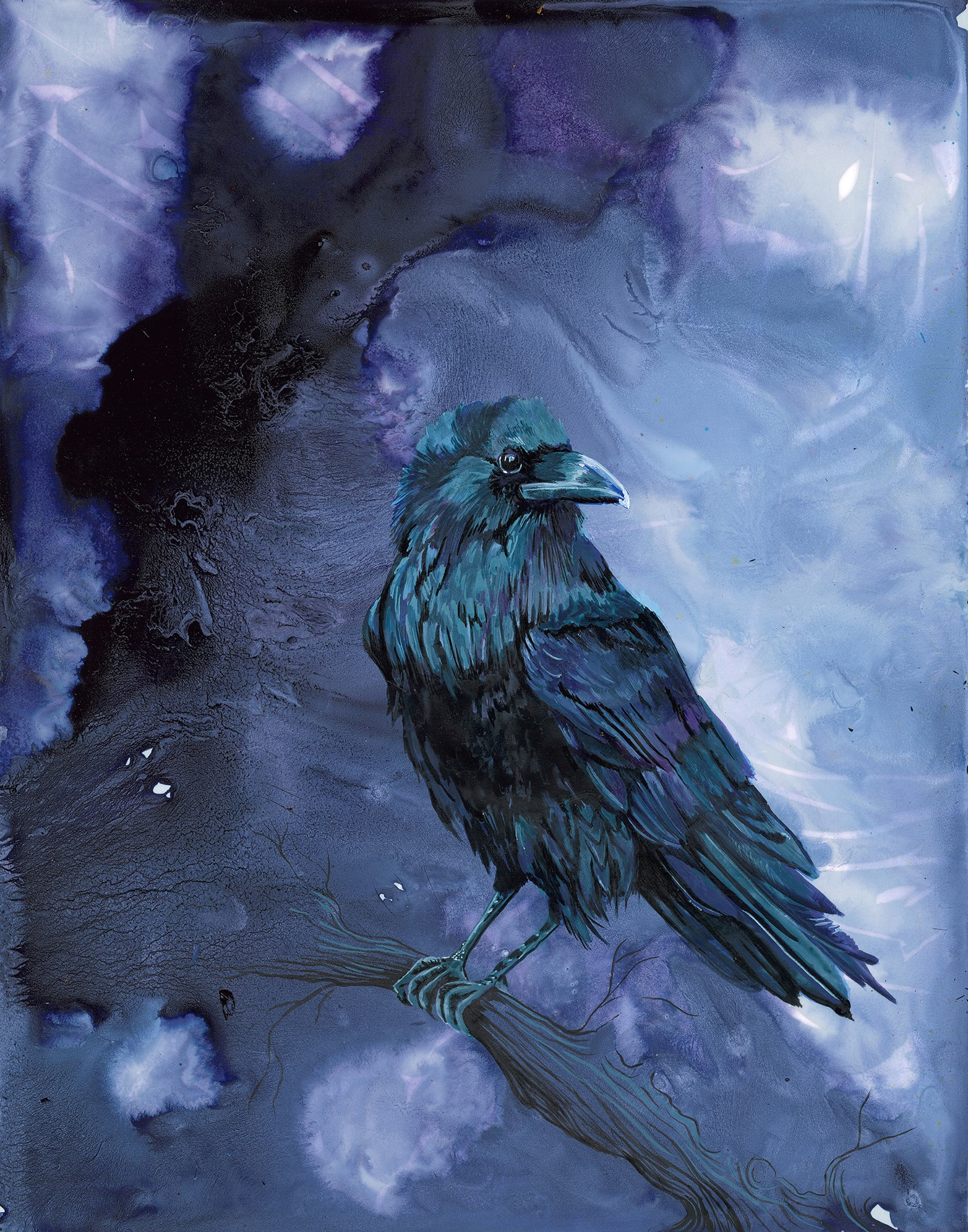 Amber Rahe artwork, blues, purple, black, abstract cloudy/vague background with black crow at foreground.